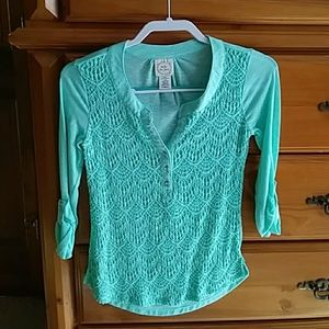 Belle du Jour Green Lace Top